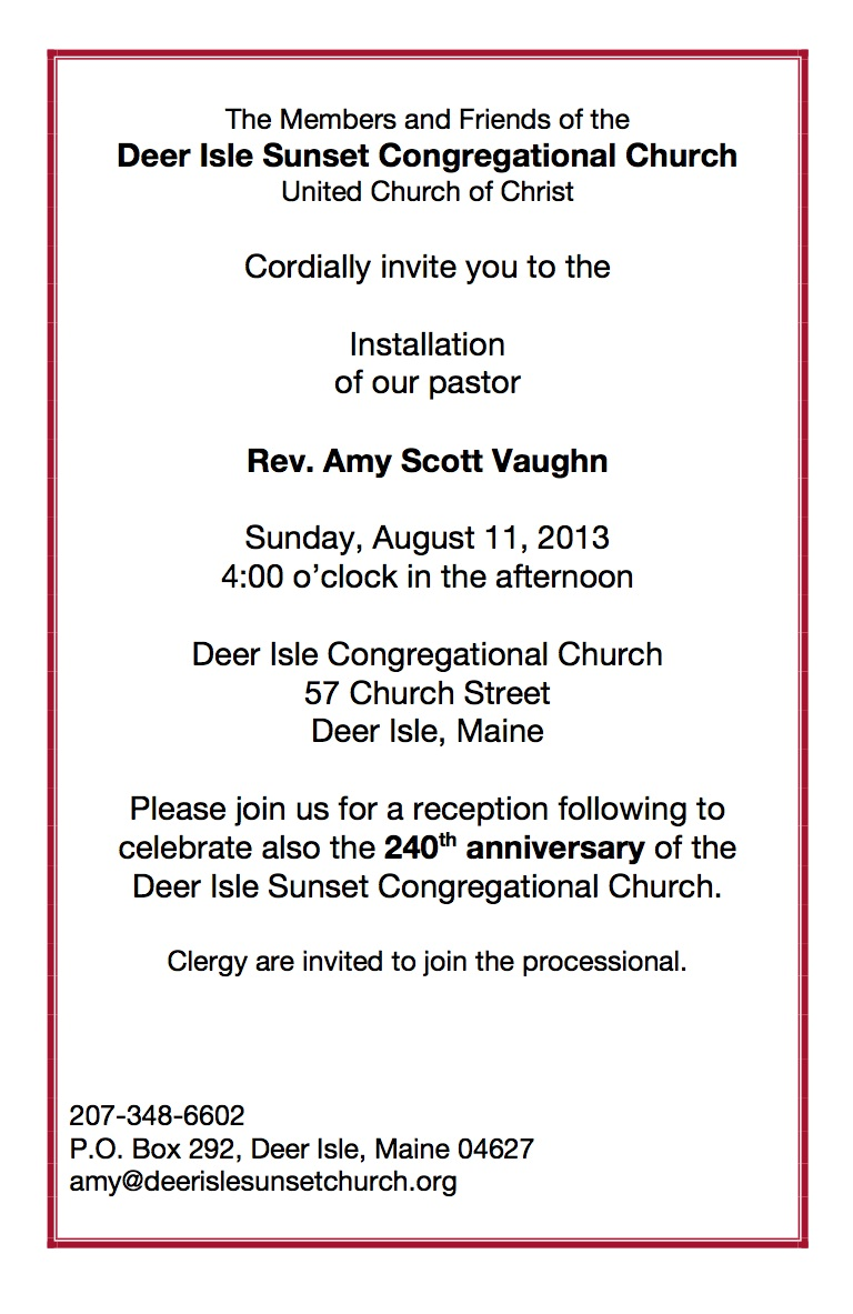 Installation and 240th Celebration August 11! | Deer Isle ...